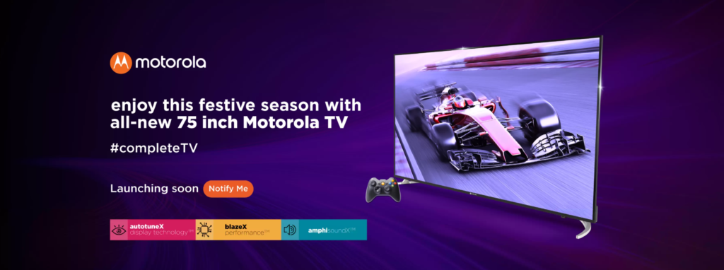 """Motorola Releases 75"""" LED 4K Smart Android TV At ₹1.2 Lakhs"""
