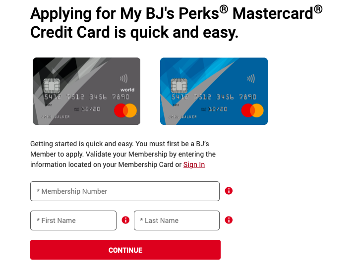 BJ's Wholesale Credit Card application process