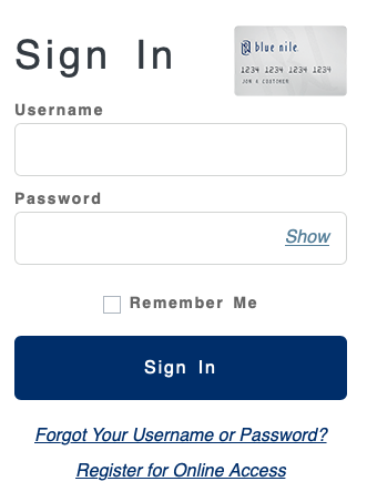 Blue Nile Credit Card account sign in