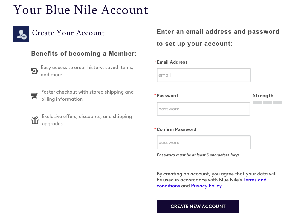 Blue Nile Credit Card application process