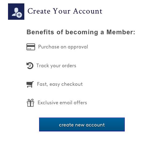Blue Nile Credit Card create account