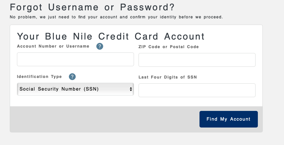 Blue Nile Credit Card login details recovery