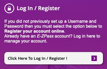 New Jersey E-ZPass Registration button