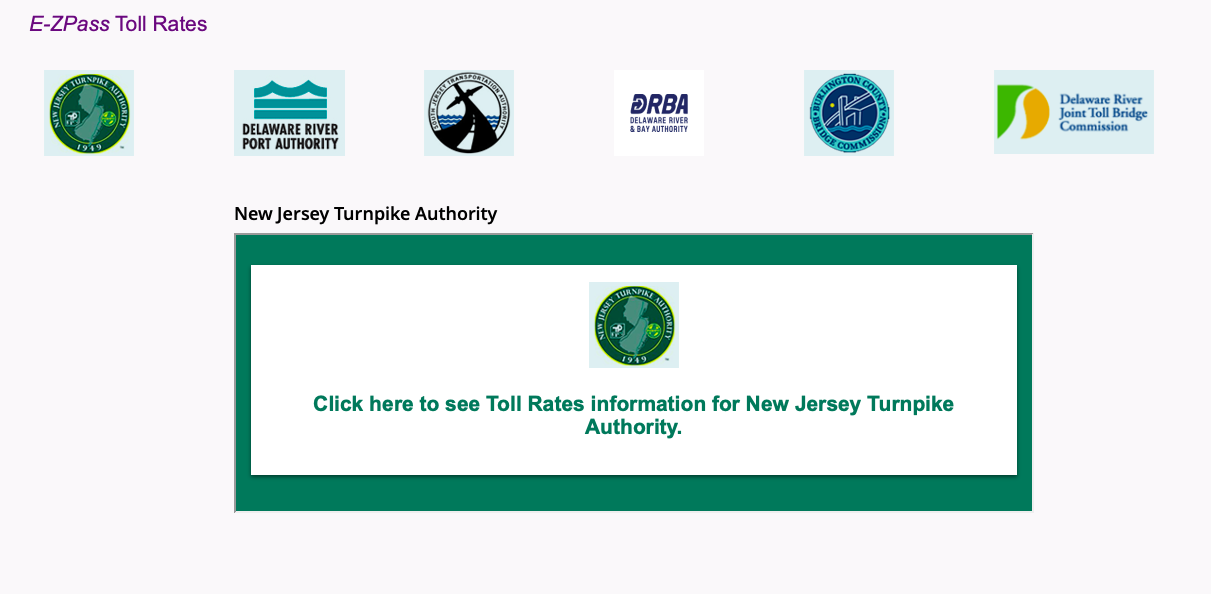 New Jersey E-ZPass Toll Rates button