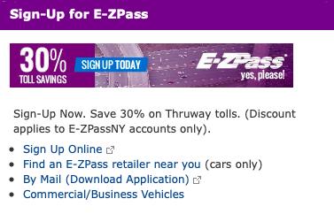 New York State Thruway E-ZPass Registration