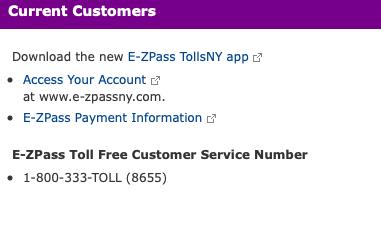 New York State Thruway E-ZPass account login