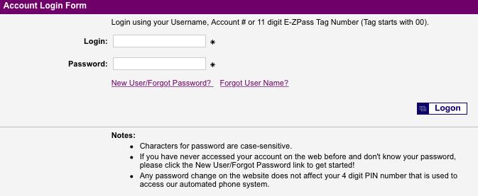 New York State Thruway E-ZPass login page