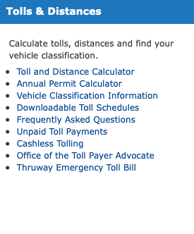 New York State Thruway Toll payment