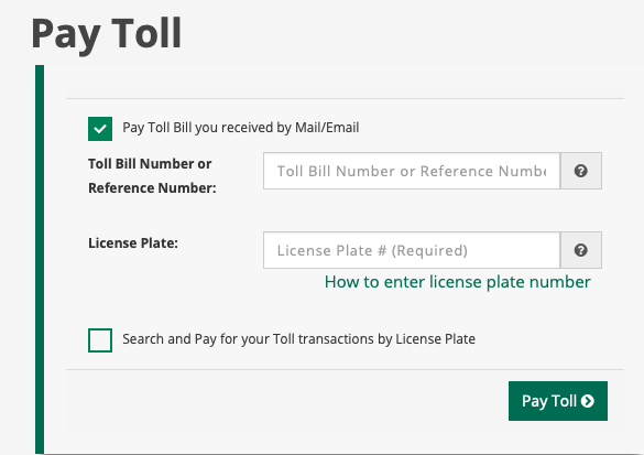 New York State Thruway pay toll page