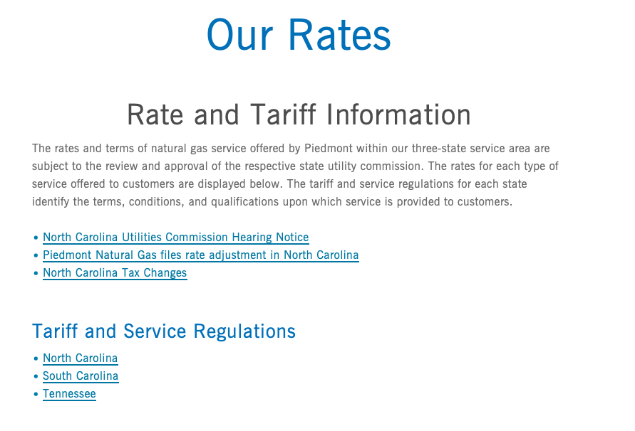 Piedmont Natural Gas Rates and Tariffs