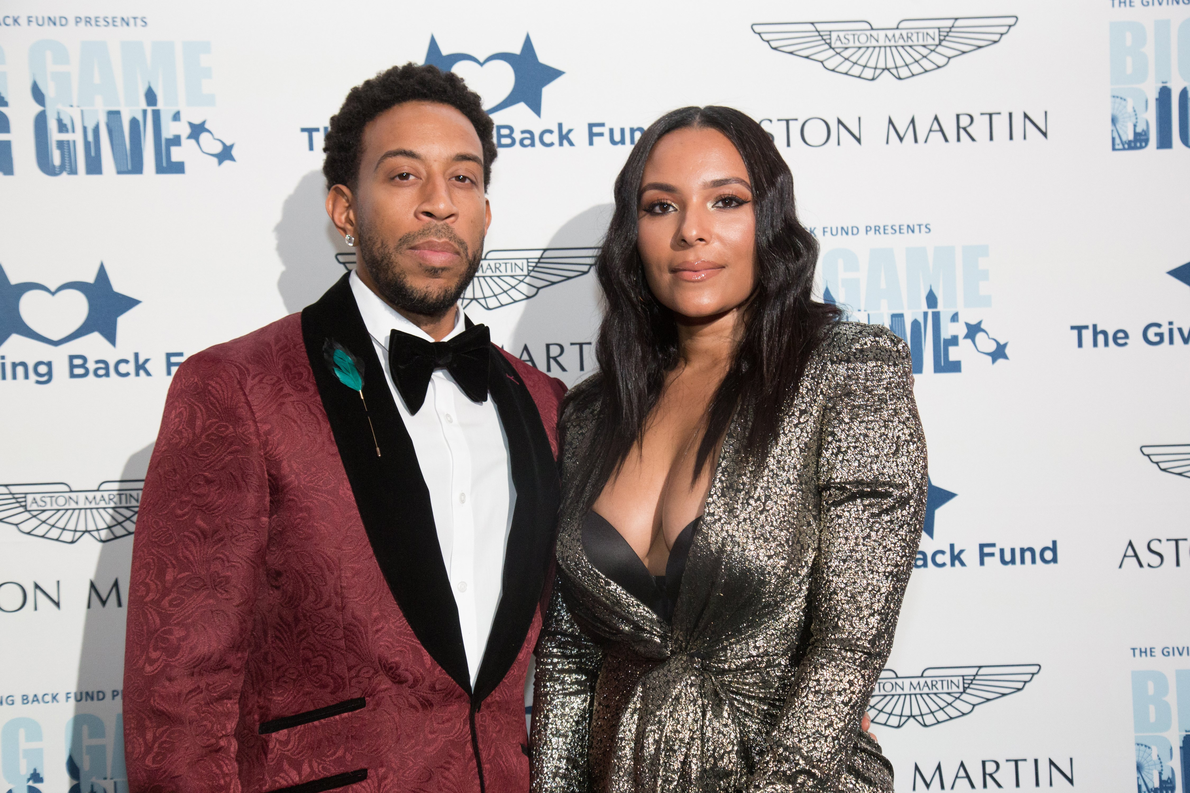 """Ludacris and Eudoxie Bridges pose at the """"Big Game Big Give"""" Superbowl Party on February 02, 2019 in Atlanta, Georgia 