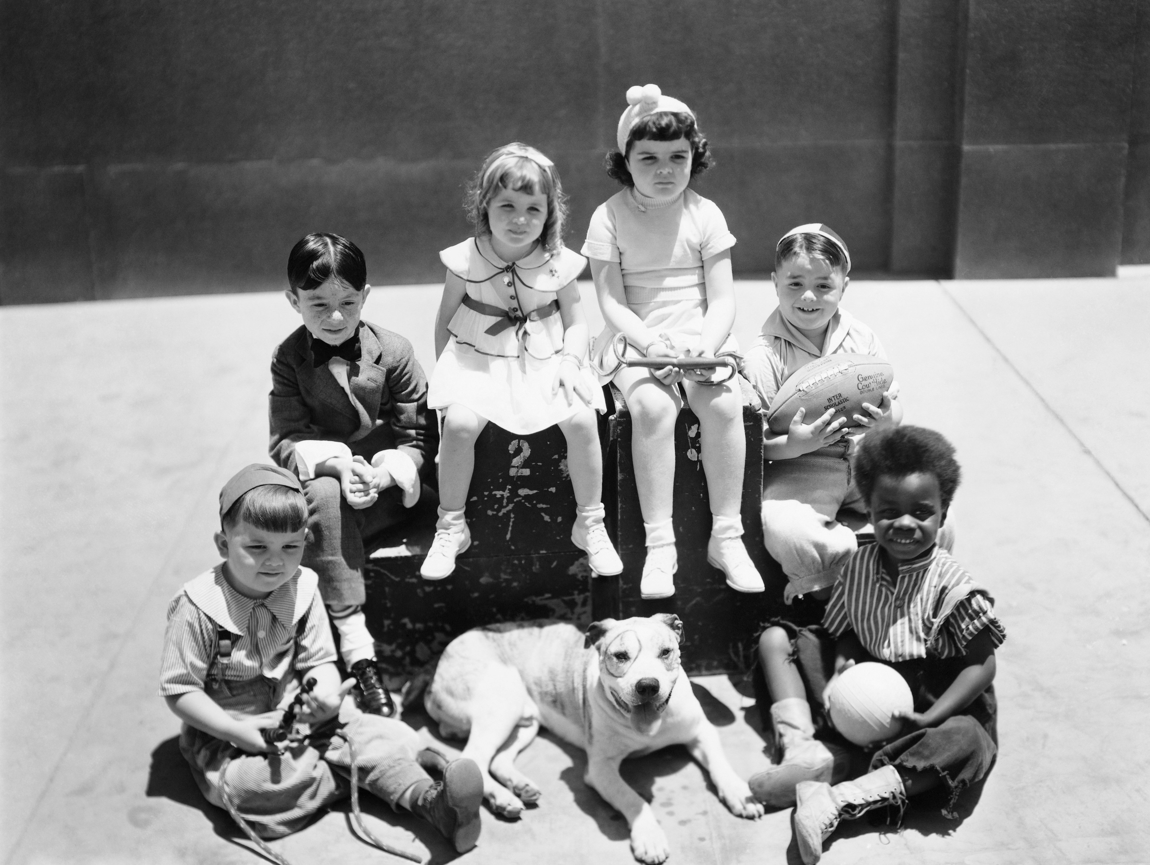 """The cast of """"Our Gang/Little Rascals"""" TV show, Hal Roach, MGM production. Spanky McFarland holding the football. 