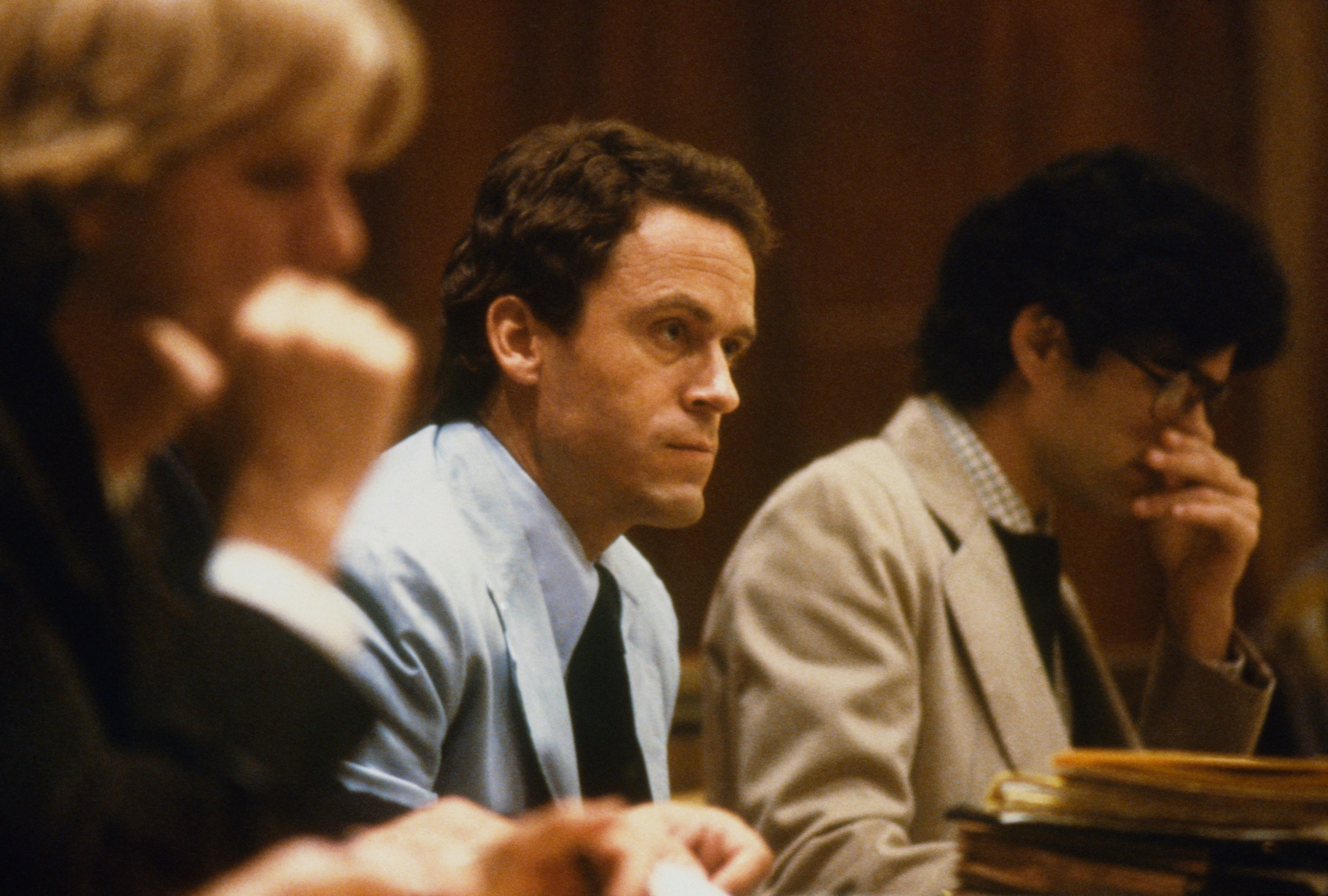 Theodore Bundy, seated in court, charged with the killings of two FSU coeds.  Source: Getty Images