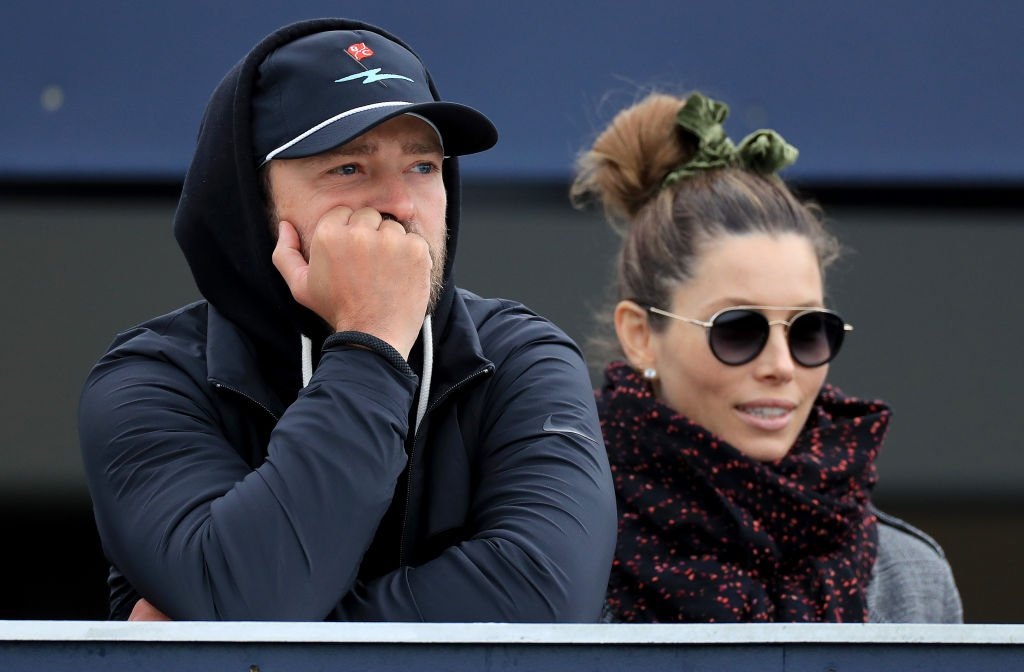 Justin Timberlake watches the golf Jessica Biel during the final round of the Alfred Dunhill Links Championship, September 2019 | Source: Getty Images