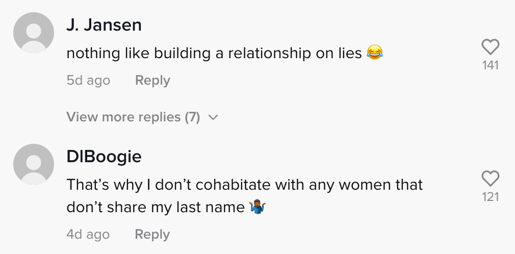 Commenters respond to a woman who lets her boyfriend pay their rent without him knowing she's the landlord   Photo: TikTok/jaynedoee0