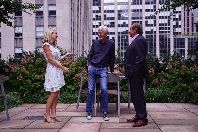 """""""Dateline NBC"""" correspondents Andrea Canning, Keith Morrison and Dennis Murphy at Rockefeller Center in New York City on Sept. 20, 2021."""