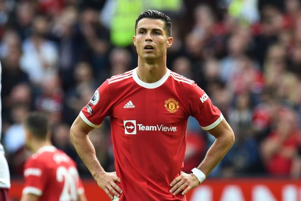 Cristiano Ronaldo of Manchester United reacts during the English Premier League soccer match between Manchester United and Aston Villa