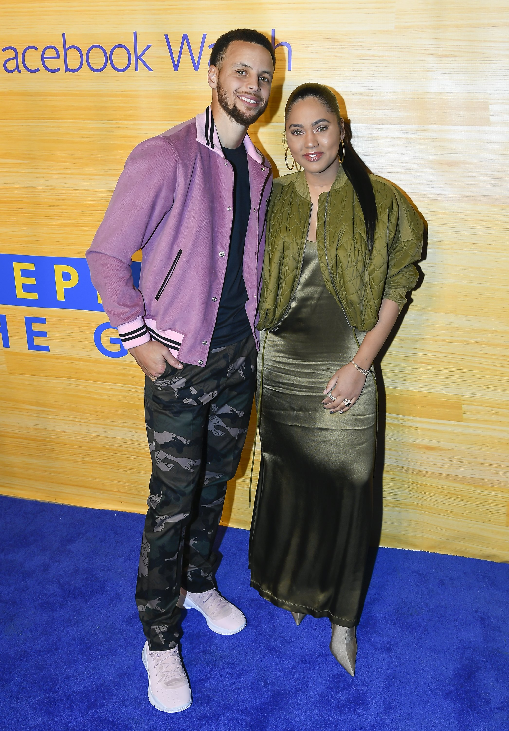 """Stephen Curry and Ayesha Curry attend the """"Stephen Vs The Game"""" Facebook Watch Preview at 16th Street Station on April 1, 2019 in Oakland, California  """