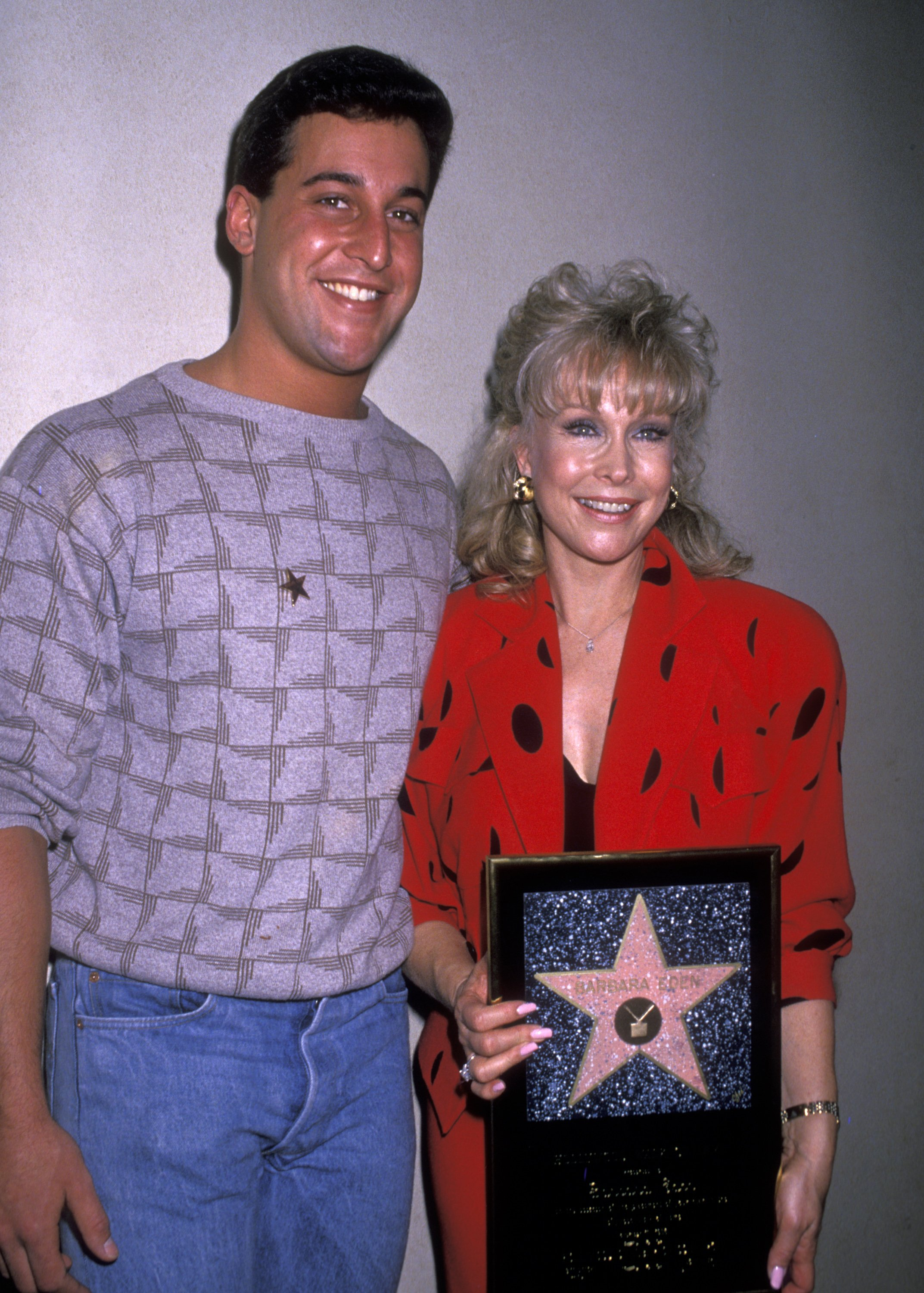 """Actress Barbara Eden and son Matthew Ansara attend the """"Hollywood Walk of Fame Ceremony Honoring Barbara Eden with a Star"""" on November 17, 1988  """