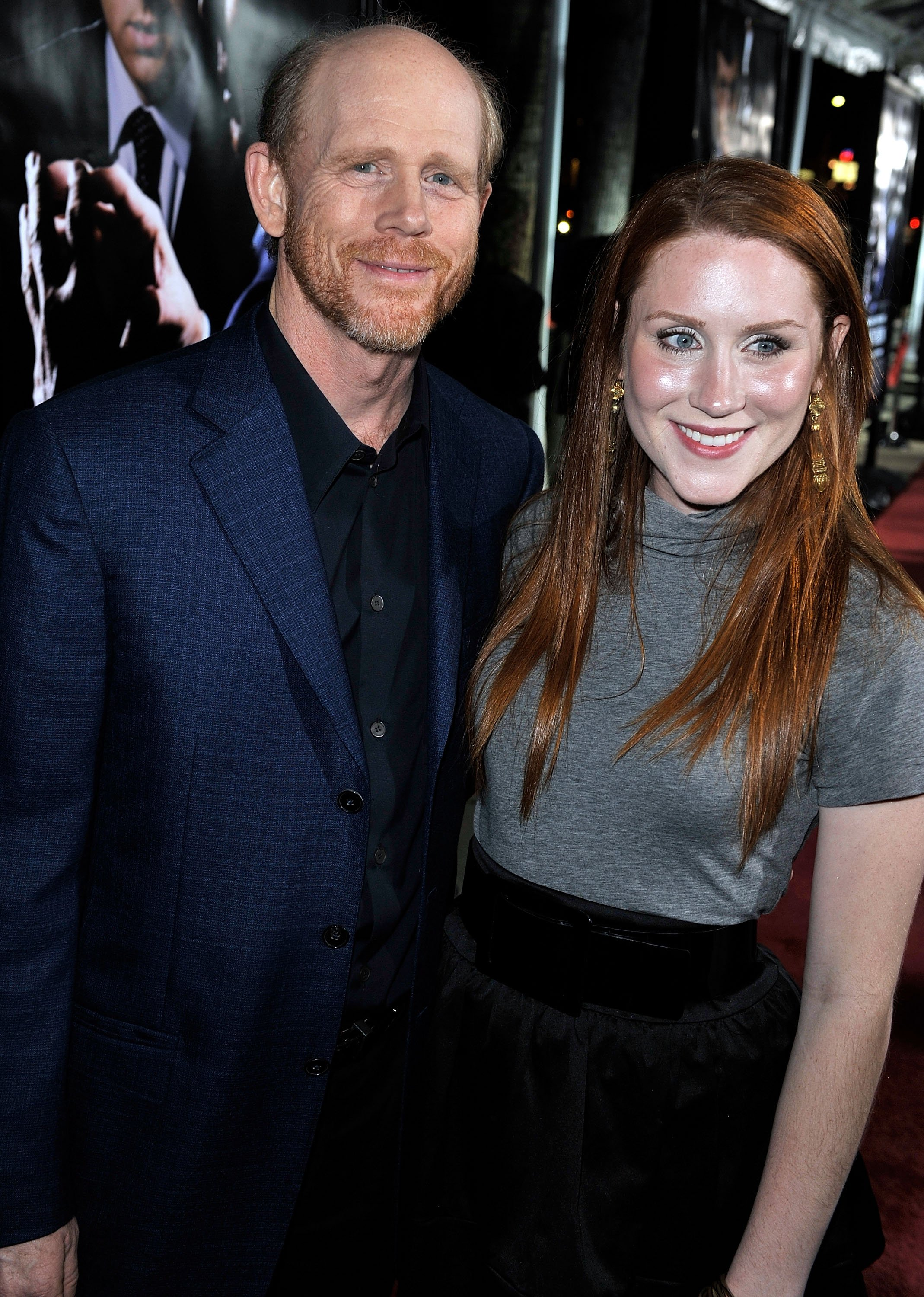 """Director Ron Howard (L) and his daughter Paige arrive at the premiere of Universal's """"Frost/Nixon"""" held at the Academy of Motion Picture Arts and Sciences' Samuel Goldwyn Theater on November 24, 2008 in Los Angeles, California. 
