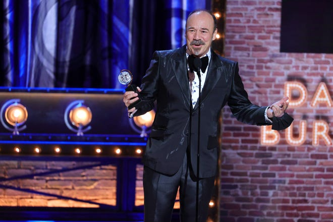 """Danny Burstein accepts the award for Best Performance by an Actor in a Featured Role in a Musical for """"Moulin Rouge! The Musical."""""""