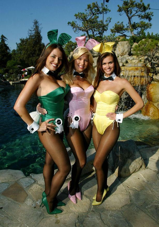 The Playboy bunnies posing in front of the infamous grotto back in 2003
