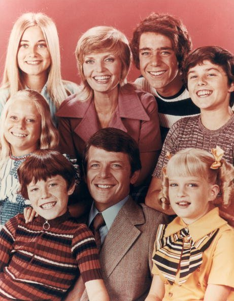 """Florence Henderson with the Brady family, from the television series, """"The Brady Bunch"""" 