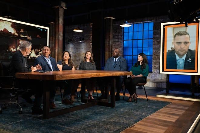 Jon Stewart interviews Capt. Le Roy Torres (Ret.), Rosie Torres, Julie Tomaska, Sgt. Isiah James (Ret.), Gina Cancelino, and Staff Sgt. Wesley Black (Ret.)