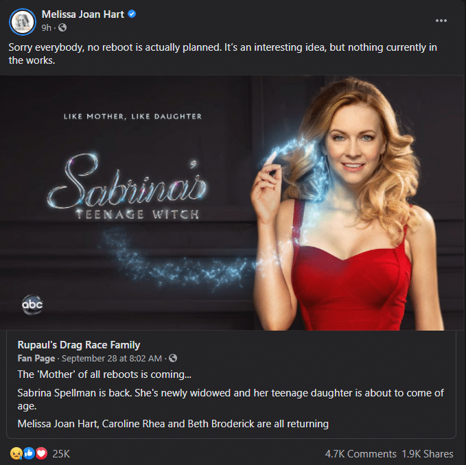 """Is 'Sabrina The Teenage Witch"""" getting an official reboot?"""