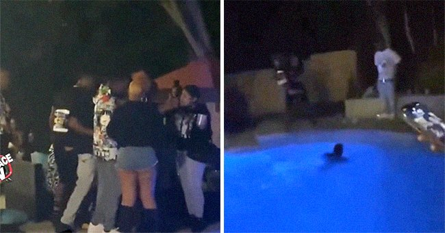 Partygoers throw a man into the pool because he asked them to turn down their music | Photo: Reddit