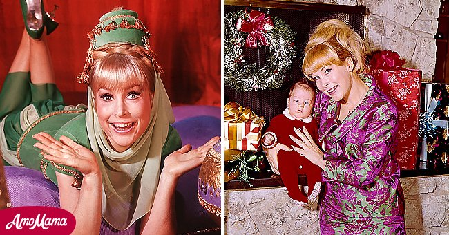 A picture of Hollywood star, Barbara Eden and her son  