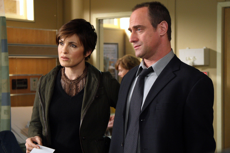 "Mariska Hargitay as Detective Olivia Benson, Christopher Meloni as Detective Elliot Stabler on an episode of ""Law & Order: SVU""   Photo: Getty Images"