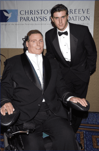 Christopher Reeve and son Matthew Reeve during a birthday bash to celebrate The Christopher Reeve Paralysis Foundation   Photo: Getty Images