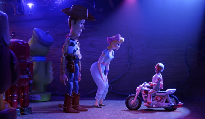 """In Disney•Pixar's """"Toy Story 4,"""" Woody and Bo turn to a 1970s toy called Duke Caboom for help. Based on Canada's greatest stuntman, Duke comes with a powerful stunt-cycle, and he's always prepared to show off his stunt poses with confidence and swagger. Featuring Keanu Reeves as the voice of Duke Caboom, """"Toy Story 4"""" opened in U.S. theaters on June 21, 2019."""