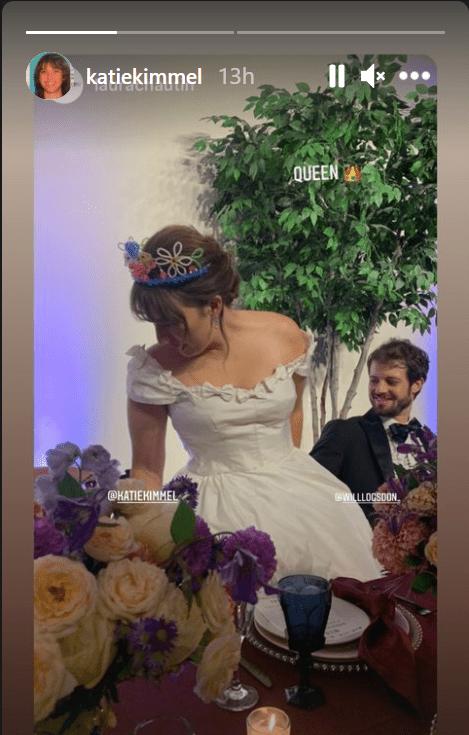 A screengrab of actress Katie Kimmel on her wedding day alongside her husband Will Logsdon | Source: Instagram/@katiekimmel
