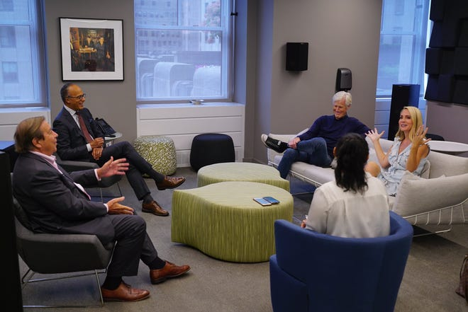 """Dennis Murphy, Lester Holt, Keith Morrison and Andrea Canning discuss the 30th season of """"Dateline NBC"""" in New York City Sept. 20, 2021."""
