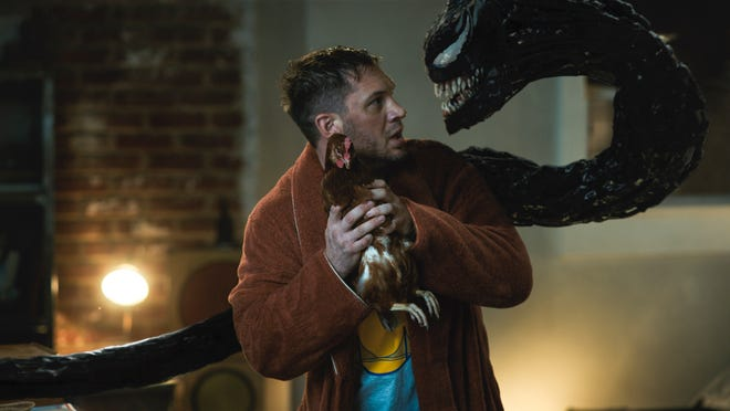 Tom Hardy takes on dual roles as Eddie Brock and the carnivore alien Venom again in the sequel.