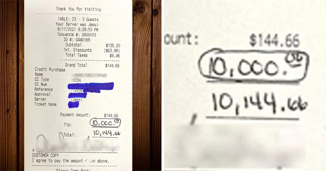 Receipt shows that a customer has paid restaurant staff a tip of $10,000 | Photo: Facebook/Wahooseafoodgrilltally