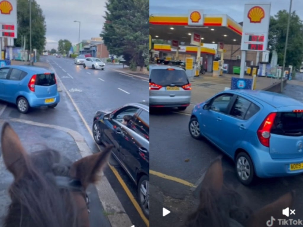 Man mocks drivers queuing up for fuel by riding into a petrol station on a horse