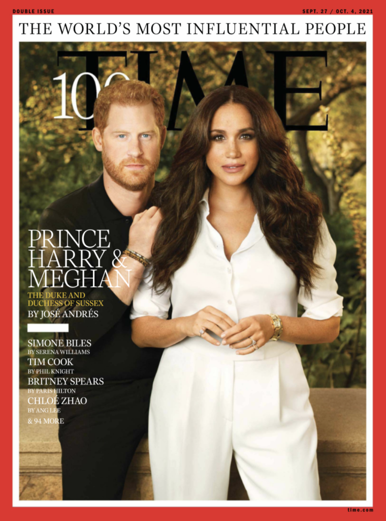 Cover of the Time 100 issue, with Prince Harry and Meghan Markle