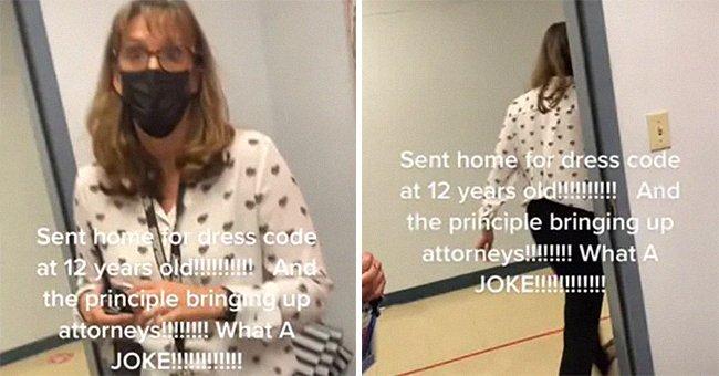 The TikToker mom shared a video of her conversation with the principal regarding her daughter's outfit. | Photo: tiktok.com/khalesei_holt