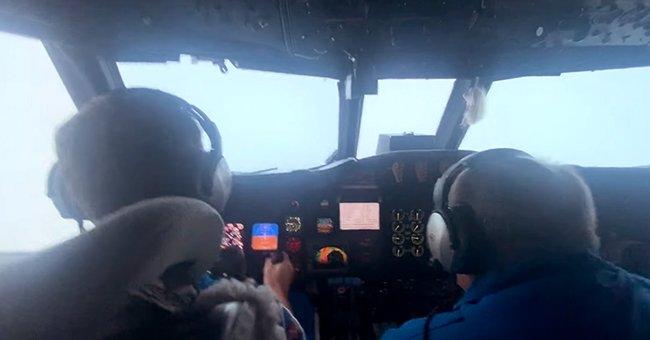 Two pilots navigate plane through Hurricane Ida.   Photo: facebook.com/NOAAHurricaneHunters