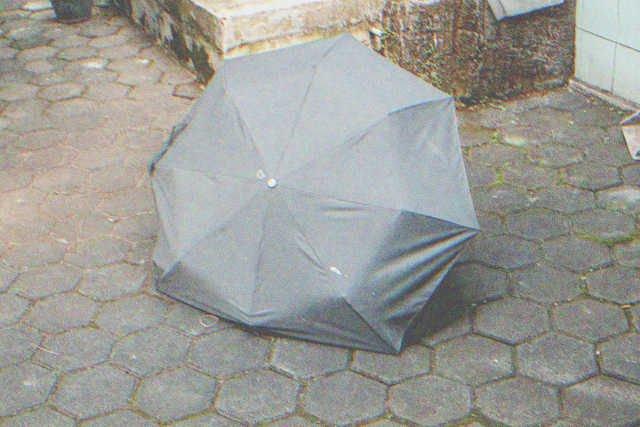 Broken old little black umbrella | Source: Shutterstock