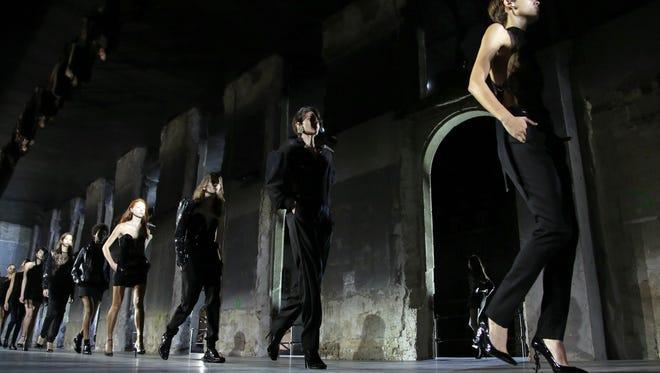 YSL models, kicking off the first big day of Paris Fashion Week.