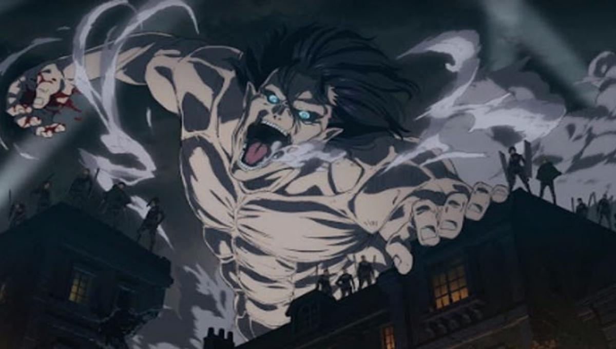 Titan Eren attacks the city of Liberio