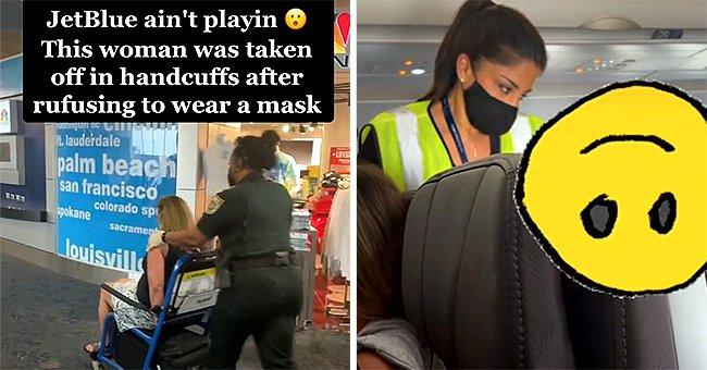 An anti-masker is handcuffed out of the plane for not following protocol. | Source: tiktok.com/brooklyndegumbia