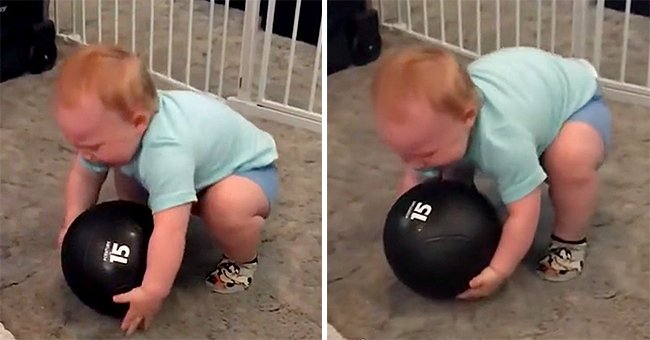 1-Year-Old Boy Shocks Everyone Lifting 15 Pounds Medicine Ball!!