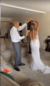 The bride travels over 600 miles to dance with her grandfather on the wedding day !!