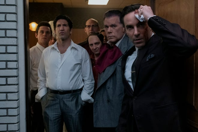 """Ray Liotta and Alessandro Nivola (far right) play father and son in """"The Many Saints of Newark."""" From left: Billy Magnussen, Jon Bernthal, Corey Stoll (background center) and John Magaro."""