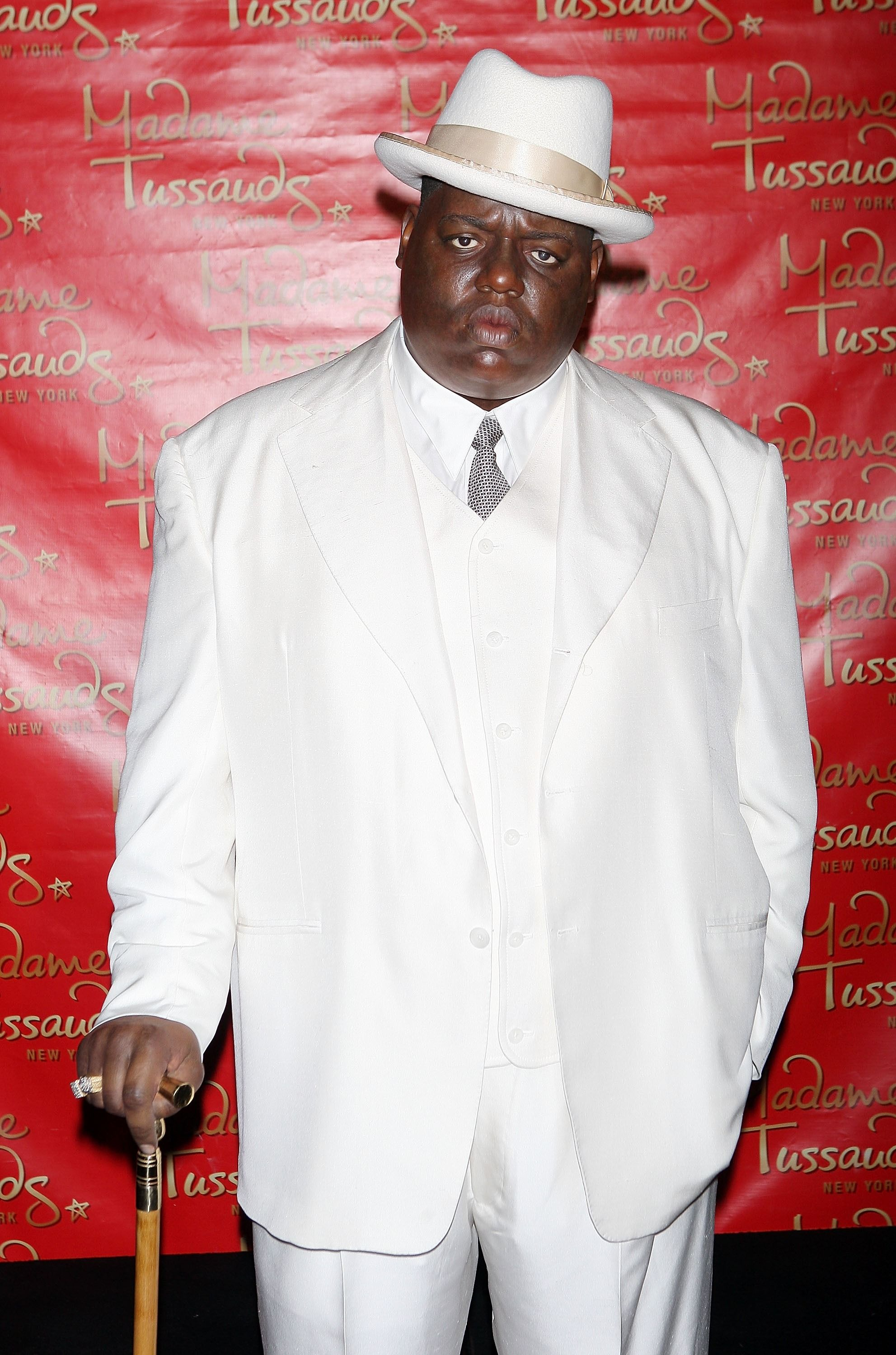 A wax figure of Christopher 'Biggie Smalls' Wallace on display in Times Square on October 25, 2007. |